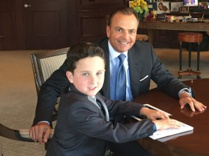 "Gavin and ""The Great Garbanzo"" at Rick Caruso's office at The Grove. Photo courtesy of Gavin Alexander"
