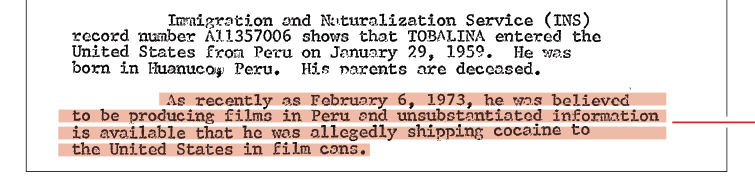 A page from Carlos Tobalina's FBI file